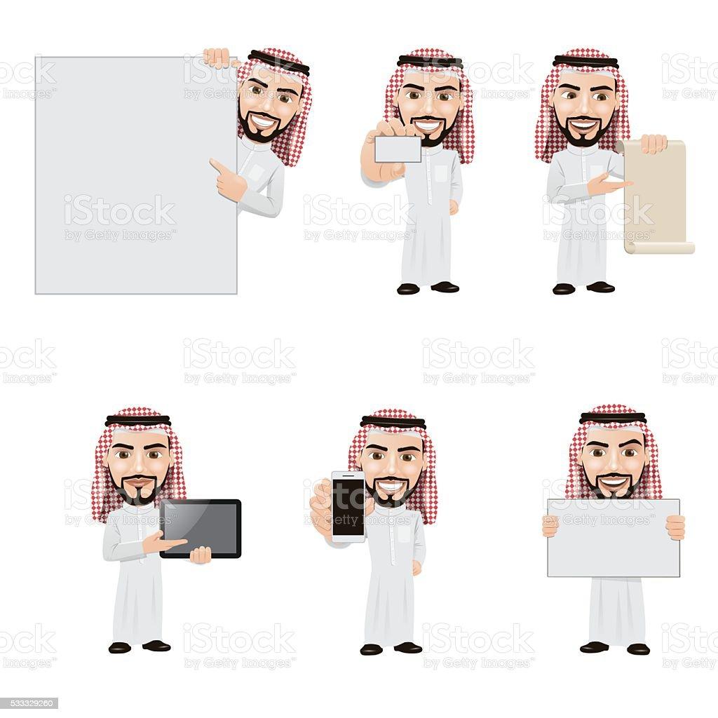 Set of Arabian Man Character in 6 Different Presentation Poses vector art illustration