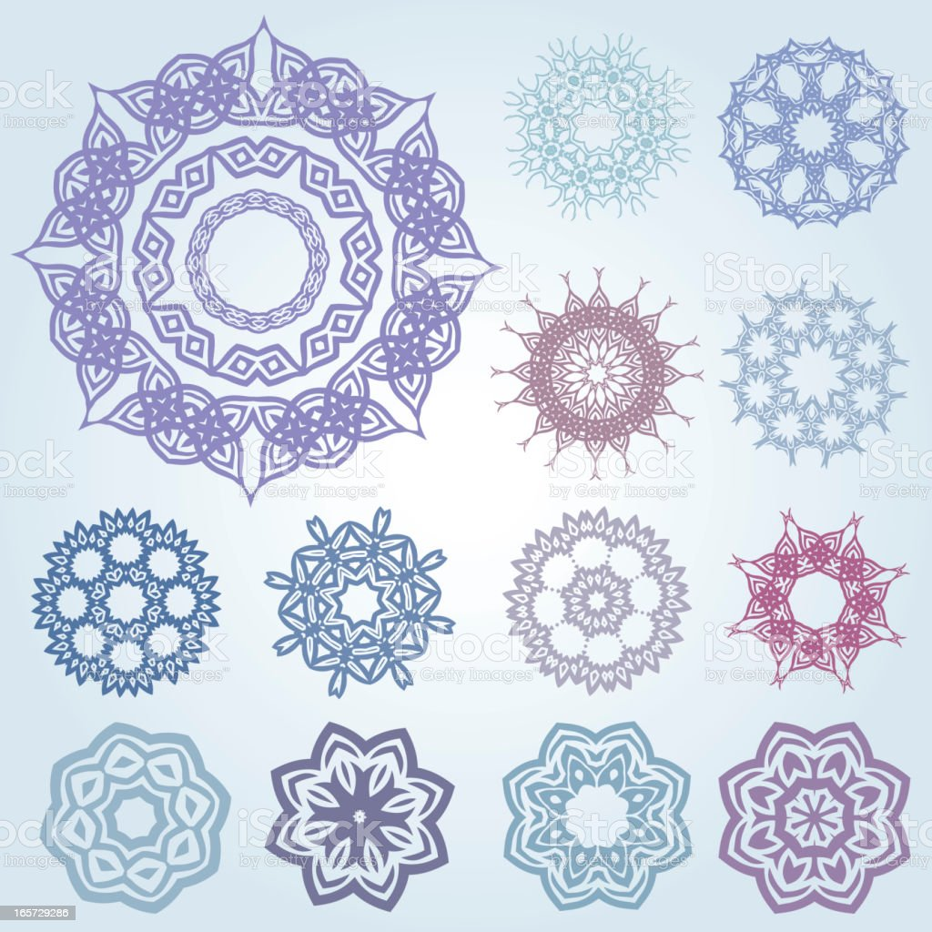 Set of arabic and ancient patterns vector art illustration