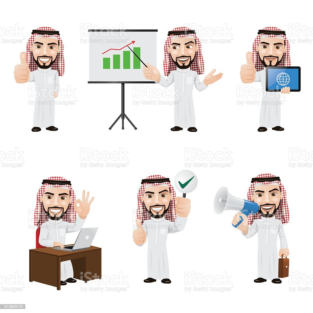 Set of Arabic Businessman Character in 6 Different Poses vector art illustration