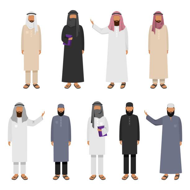 stockillustraties, clipart, cartoons en iconen met een reeks arabische mens die traditionele kleding draagt. de illustratie van de vector in vlakke beeldverhaalstijl. - oost duitsland