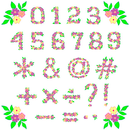 Set of arabic numbers and other signs of flowers and leaves on white.