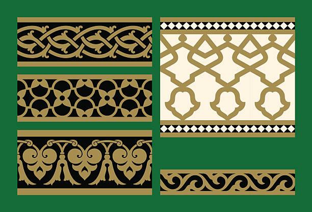 Set of Arabic Seamless Patterns Set of Arabic Seamless Patterns architecture borders stock illustrations