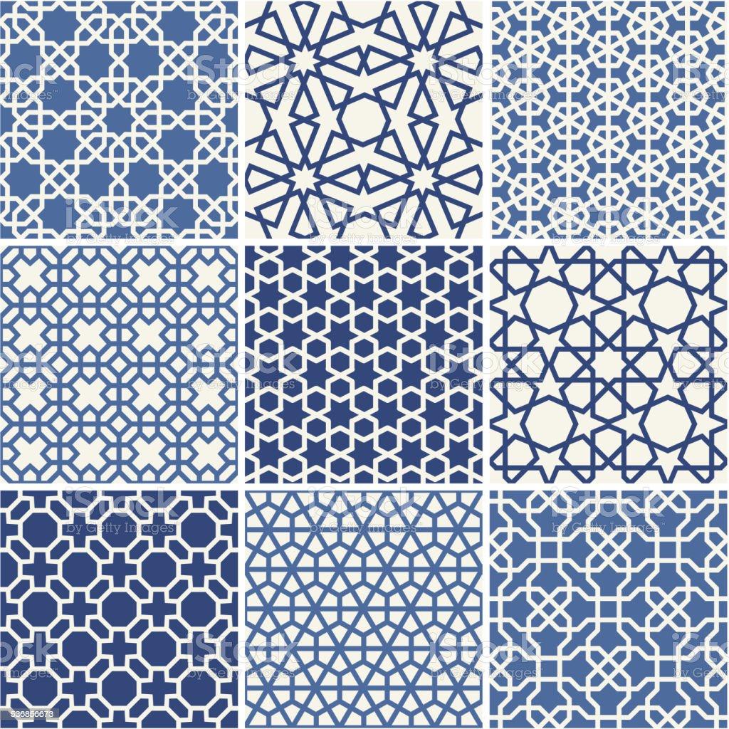 Set of Arabic seamless patterns, vector vector art illustration