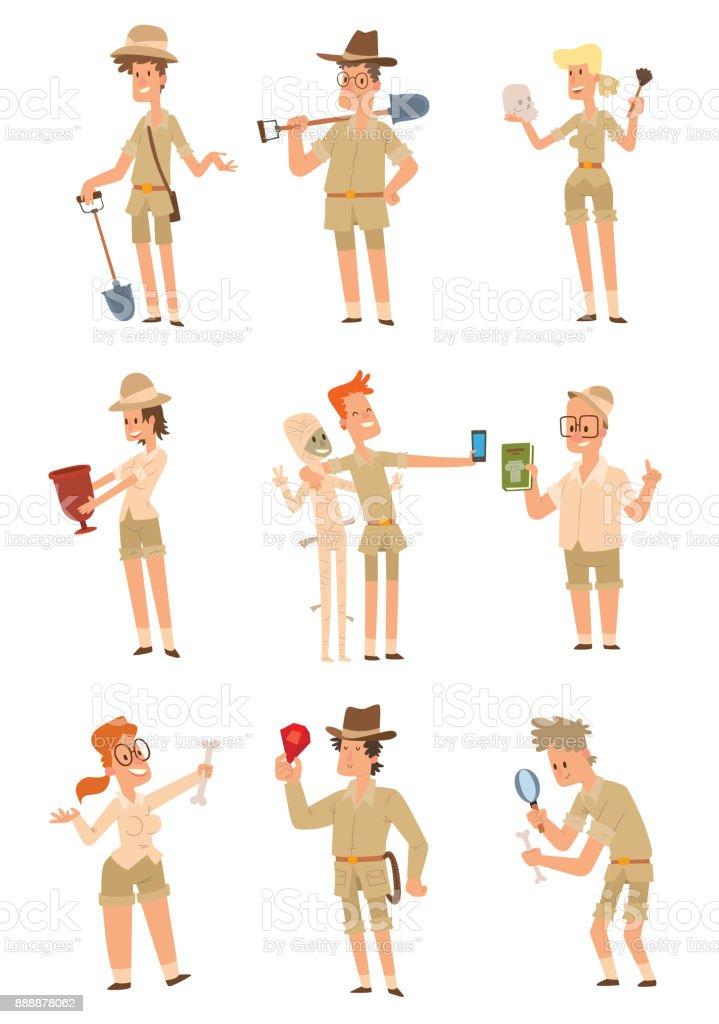 Set of archaeologists men and women vector art illustration
