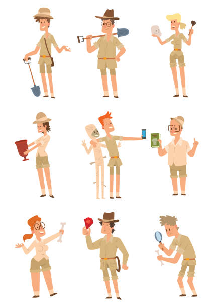 ilustrações, clipart, desenhos animados e ícones de conjunto de arqueólogos homens e mulheres - explorador