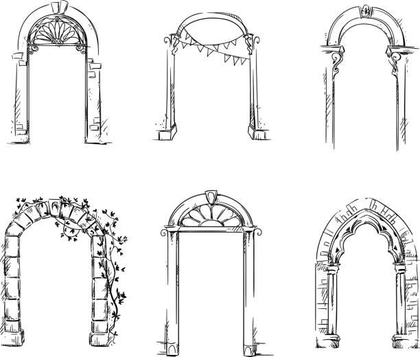 Ensemble d'arches. Détail d'architecture - Illustration vectorielle