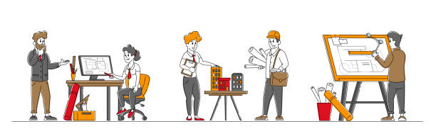 Set of Architects and Engineer Characters Working on Project Painting Plan on Blueprint and Presenting House Mock Up. Building and Engineering Construction Works. Linear People Vector Illustration Set of Architects and Engineer Characters Working on Project Painting Plan on Blueprint and Presenting House Mock Up. Building and Engineering Construction Works. Linear People Vector Illustration architecture clipart stock illustrations