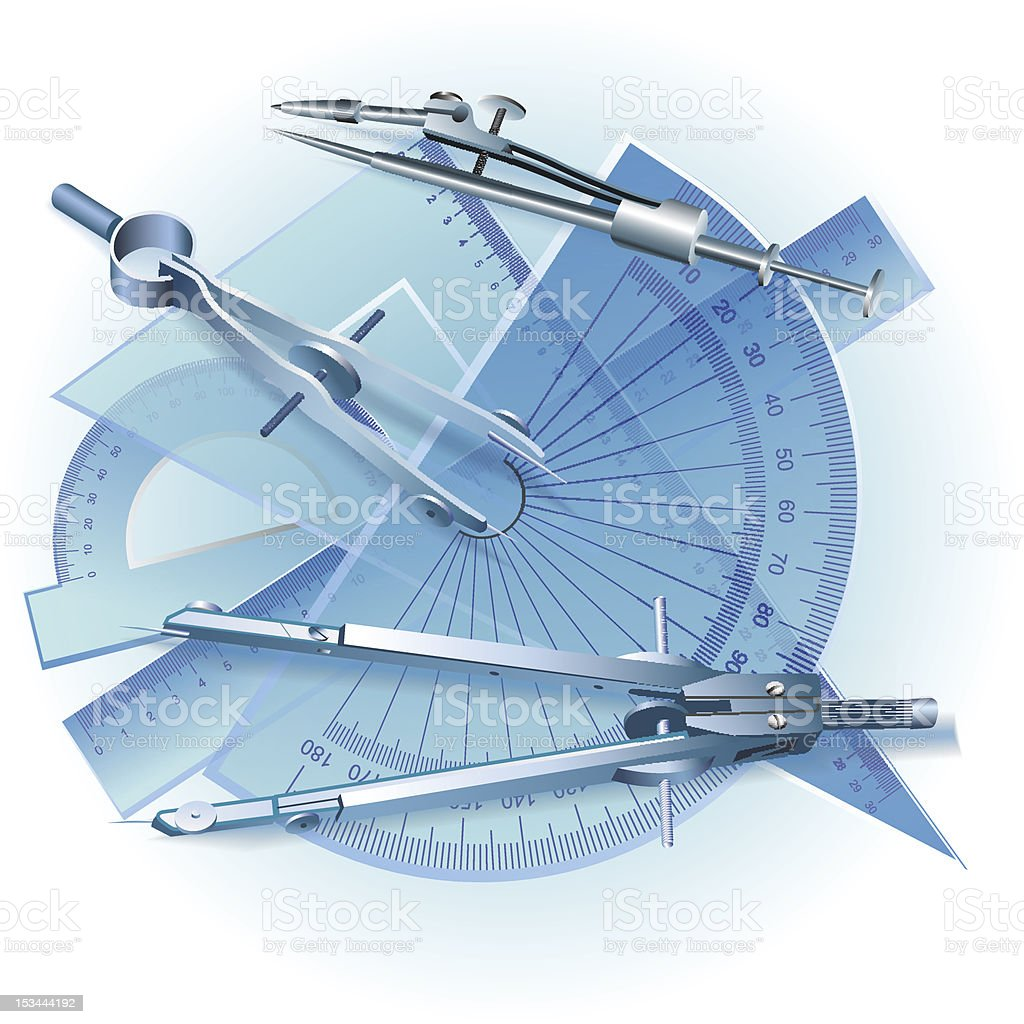 Set Of Architectural Drawing Tools Royalty Free Stock Vector Art