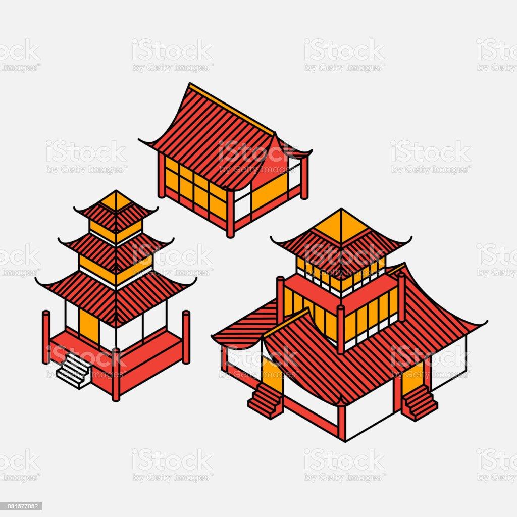 Eine Reihe Von Architektonischen Elementen Im Orientalischen Stil ...
