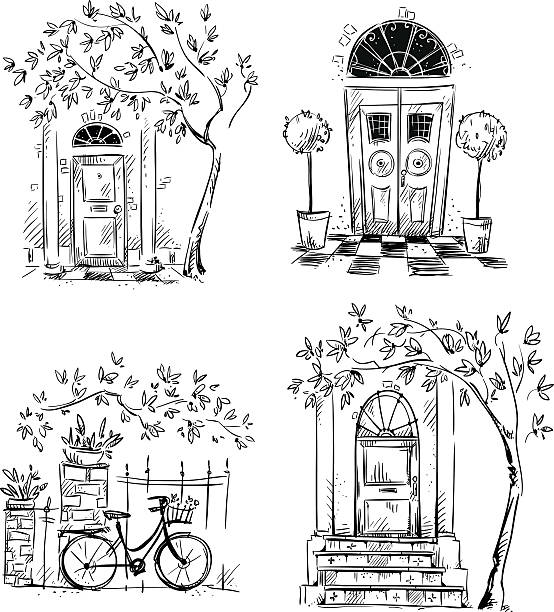 set of architecture details drawings. doors. - aussenstufen stock-grafiken, -clipart, -cartoons und -symbole