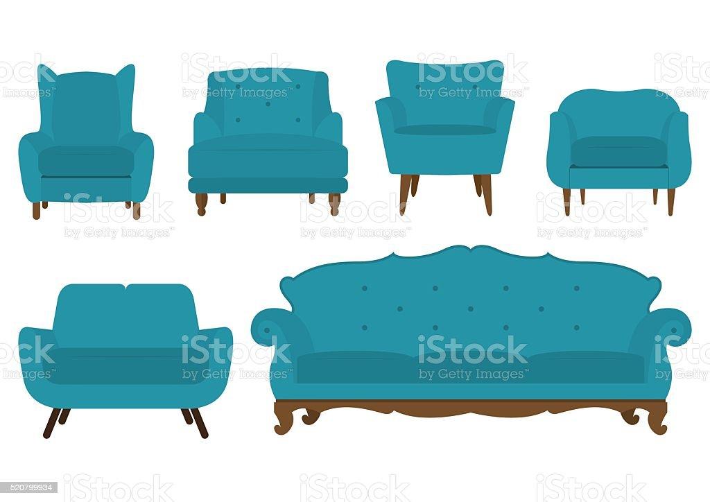 Set of armchair in flat design. Vector vector art illustration