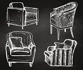 Set of armchairs hand drawn chalk on a chalkboard.Vector illustration in a sketch style.