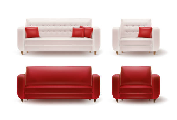 Set of armchairs with sofas Vector set of red, white armchairs with sofas and cushions front view isolated on white background armchair stock illustrations
