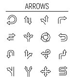 Set of arrow icons in modern thin line style. High quality black outline direction symbols for web site design and mobile apps. Simple arrow pictograms on a white background.