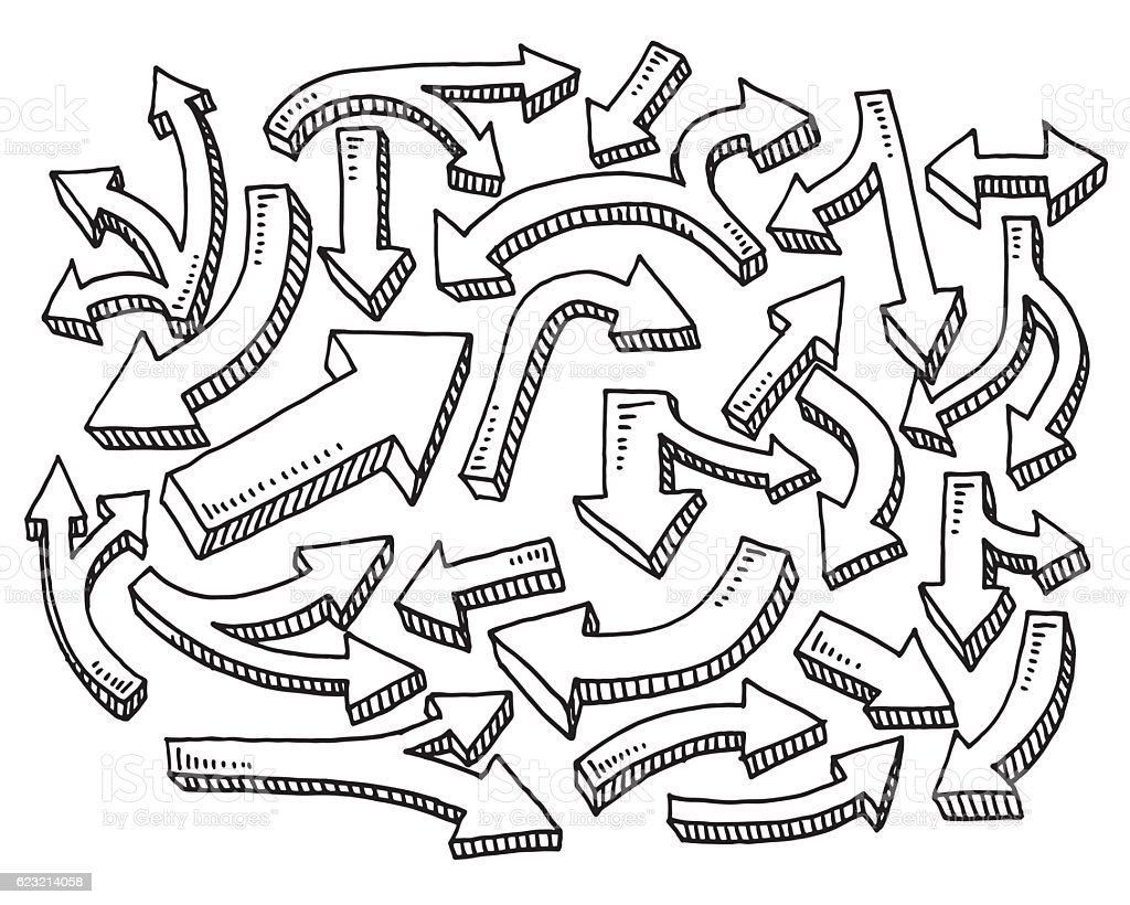 Set Of Arrows Drawing vector art illustration