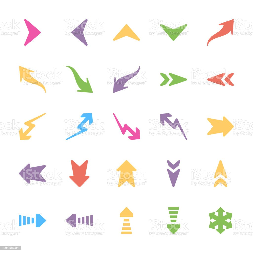 Set of Arrows Flat Vectors royalty-free set of arrows flat vectors stock vector art & more images of arrow - bow and arrow