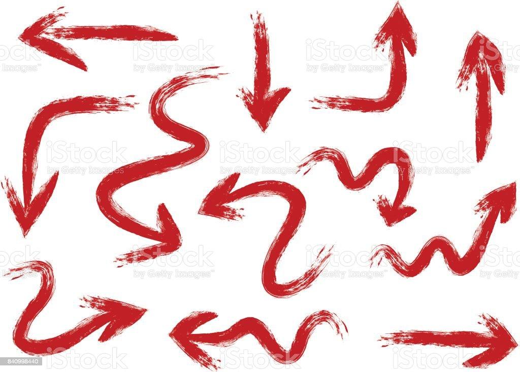 Jeu de flèches peintes à la main une brosse rugueuse. Traits rouges difficiles. 12 éléments isolés sur fond blanc. - Illustration vectorielle