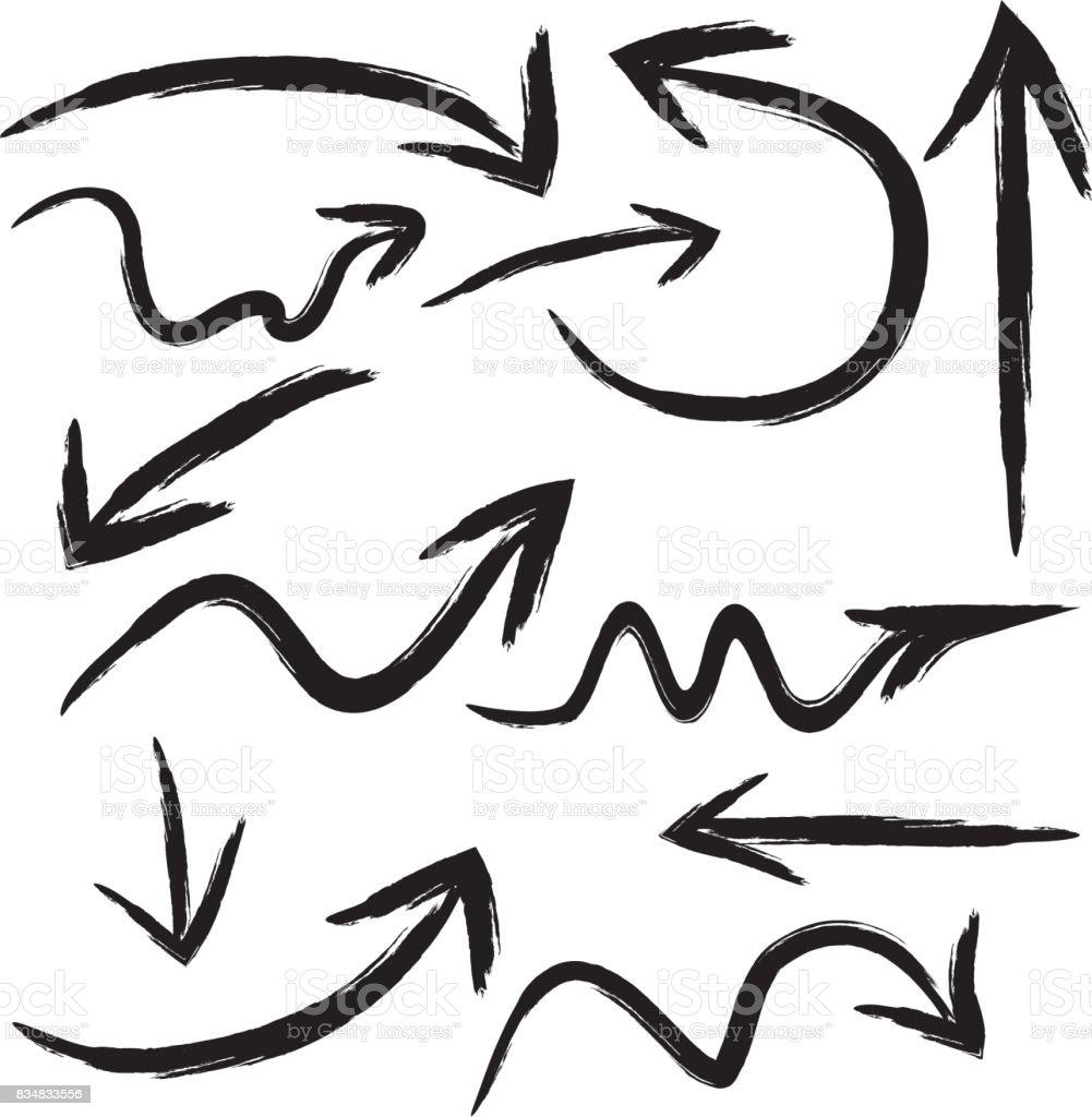 Un ensemble de flèches, pointeurs dépeint des coups de pinceau. 12 éléments isolés. - Illustration vectorielle