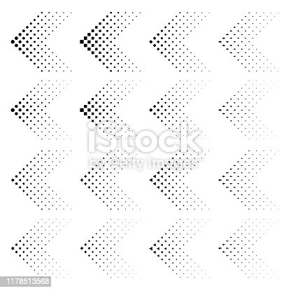 Set of arrows with halftone effect. Vector illustration EPS10. Black arrows collection isolated on white. Circle, square, star, arrow, rhomb, triangle in shape like arrow.