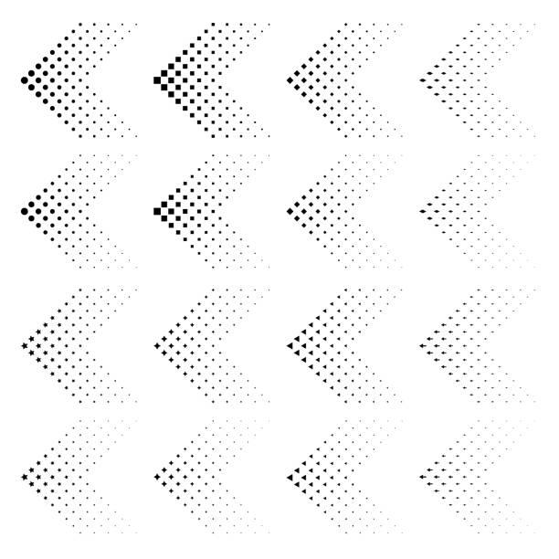 stockillustraties, clipart, cartoons en iconen met set pijlen met halftooneffect. vector illustratie eps10. zwarte pijlen collectie geïsoleerd op wit. cirkel, vierkant, ster, pijl, rhomb, driehoek in vorm als pijl. - beweging