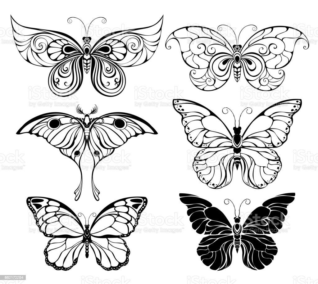 Ensemble de papillons art - Illustration vectorielle