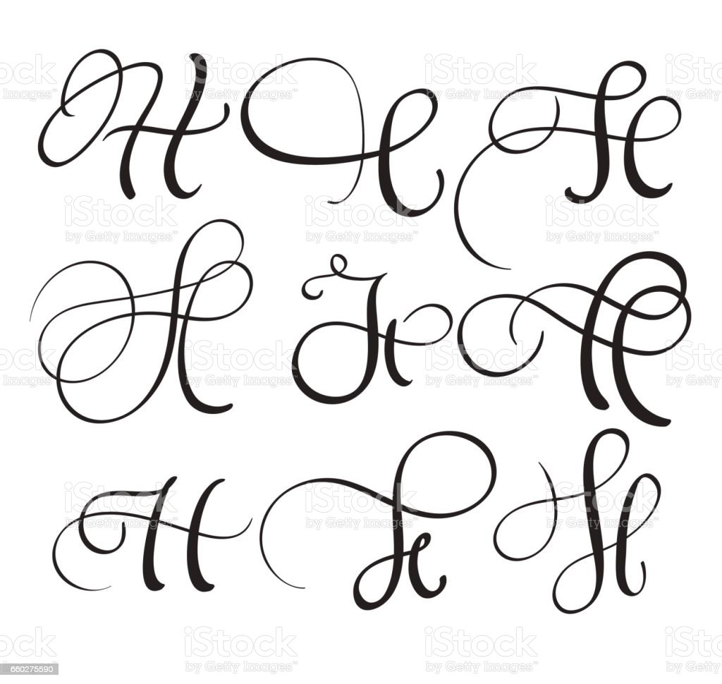 Set Of Art Calligraphy Letter H With Flourish Of Vintage ...