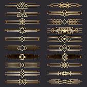 Set of art deco dividers. Decorative lines border. Decor Elements.  Template dividers