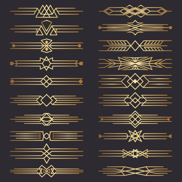Set of art deco dividers. Decorative lines border. Decor Elements.  Template dividers Set of art deco dividers. Decorative lines border. Decor Elements.  Template dividers changing form stock illustrations