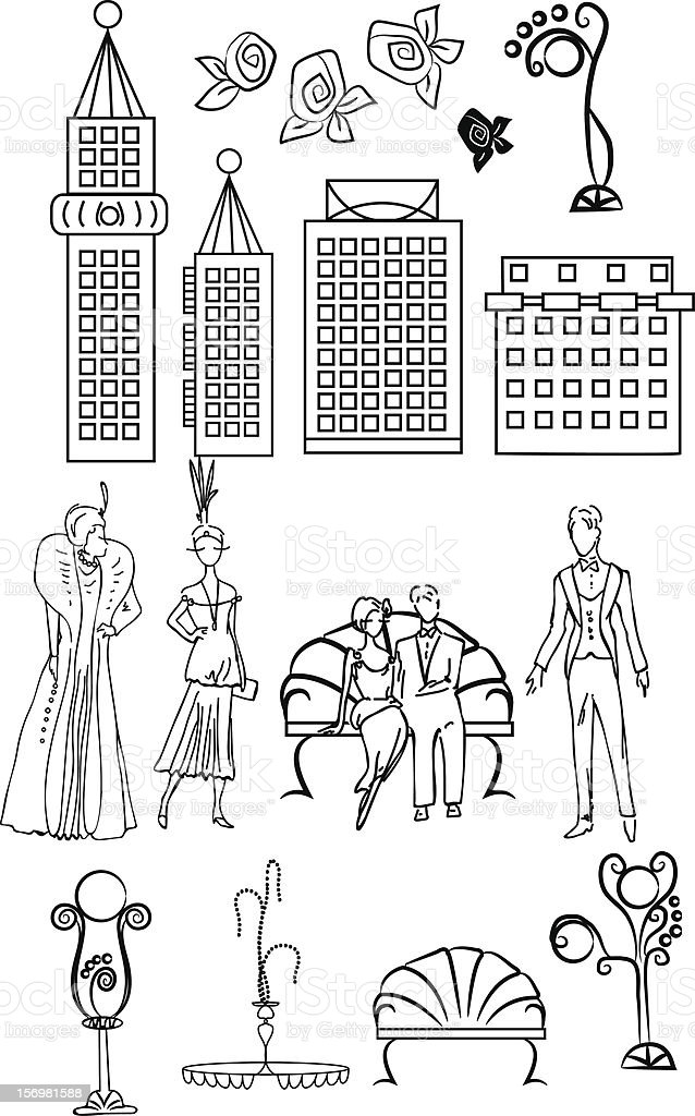Set of art deco style elements royalty-free stock vector art