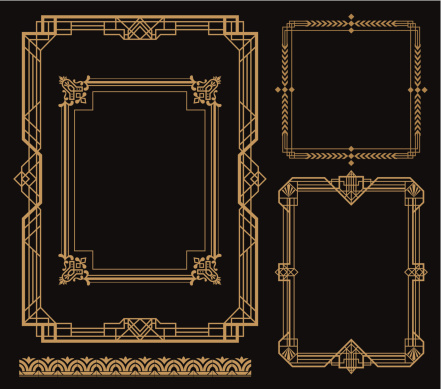 Set of art frames with various designs