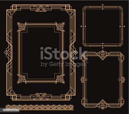 A set of art deco theme border. zip contains AI and hi-res jpeg.