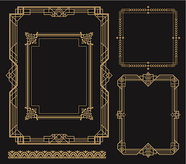 set of art frames with various designs - art deco stock illustrations, clip art, cartoons, & icons