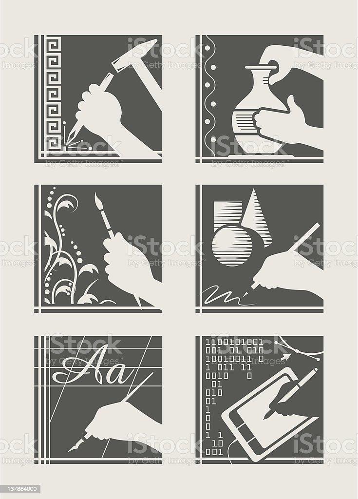 Juego de oficio artístico - ilustración de arte vectorial