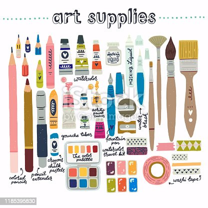 Extended toolkit of art supplier for drawing and painting. Set of flat style elements for artists and designers. Cartoon images of painting brushes, tubes, washi tapes, crayons, pencils, sharpeners