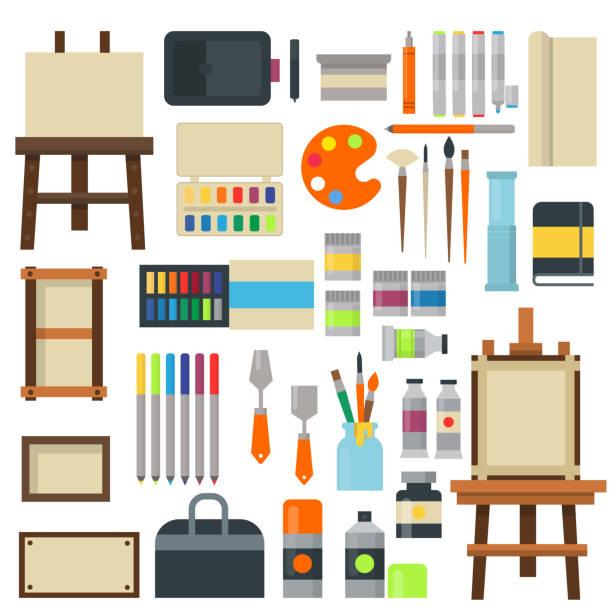 Set of art symbols vector. vector art illustration