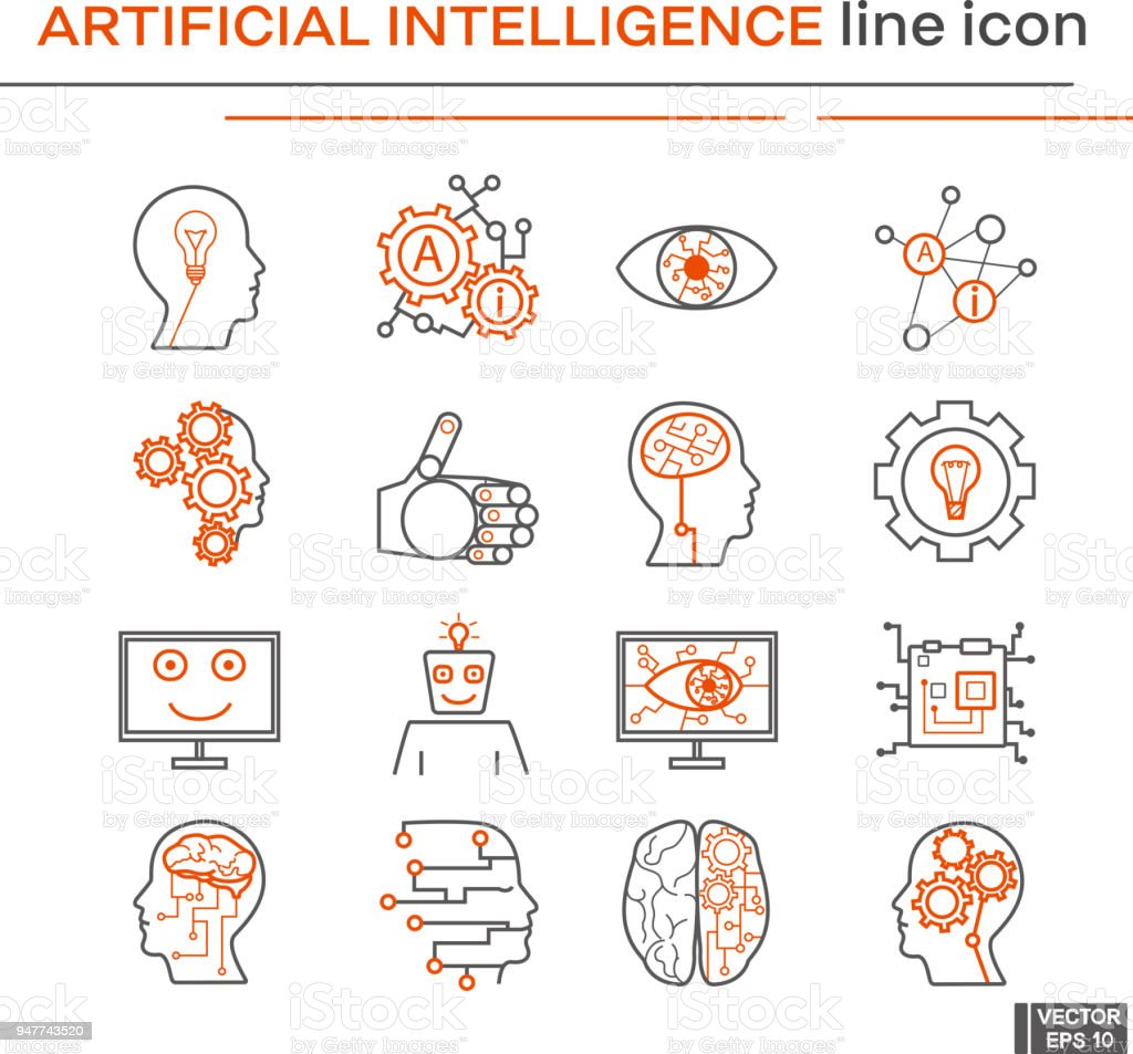 Set of artifical intelligence icons. vector art illustration