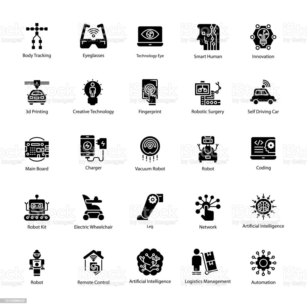 Set of Artificial Intelligence Solid Vector Icons vector art illustration