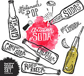 Vector illustration of a Set of Artisan soda pop label and bottle on watercolor