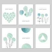 Set of artistic universal cards.  Wedding, birthday, party, Valentine's day,  universally. Design for  card, invitation, placard, poster, brochure, flyer. Vector. Hand Drawn wartercolor textures.