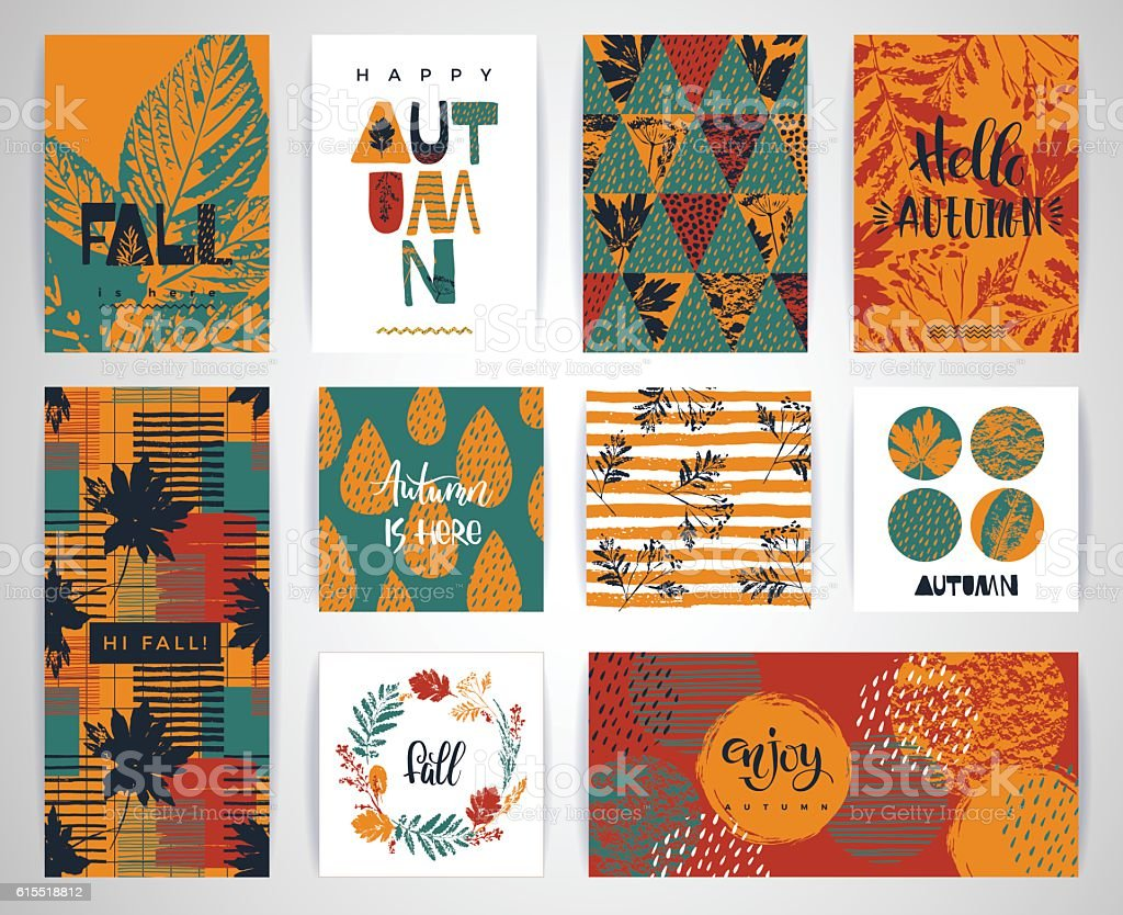 Set of artistic creative autumn cards. - illustrazione arte vettoriale