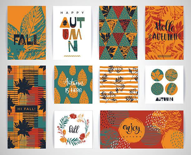 Set of artistic creative autumn cards. vector art illustration