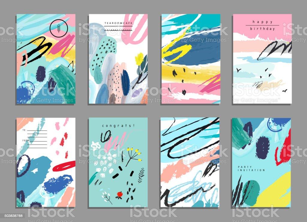 Set mit künstlerischen Kreativität universal-Karten. Zeichnung Texturen. – Vektorgrafik
