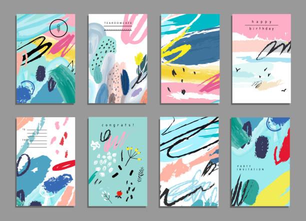 set mit künstlerischen kreativität universal-karten. zeichnung texturen. - stoffmalerei stock-grafiken, -clipart, -cartoons und -symbole