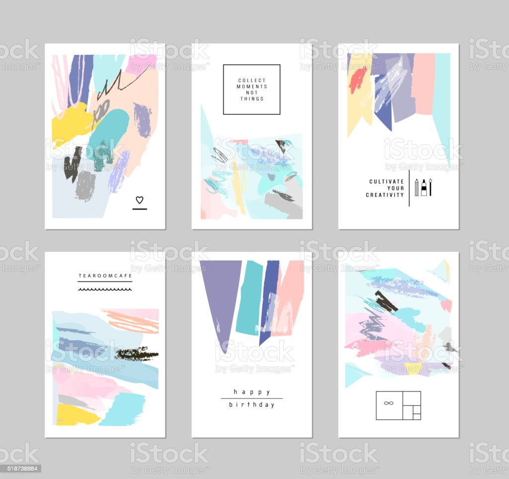 Set of artistic creative universal cards. Hand Drawn textures vector art illustration