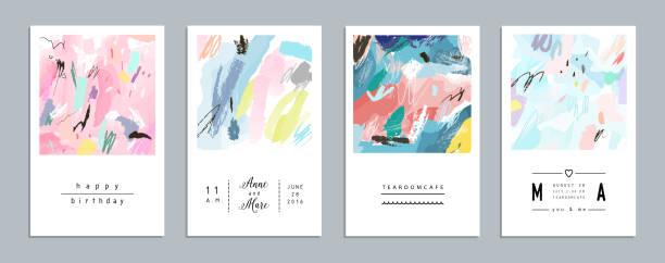 stockillustraties, clipart, cartoons en iconen met set of artistic creative universal cards. - tribale kunst