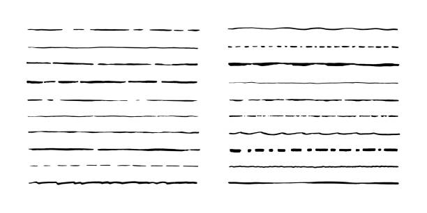 set of artistic pen brushes. hand drawn grunge strokes. vector illustration - in a row stock illustrations