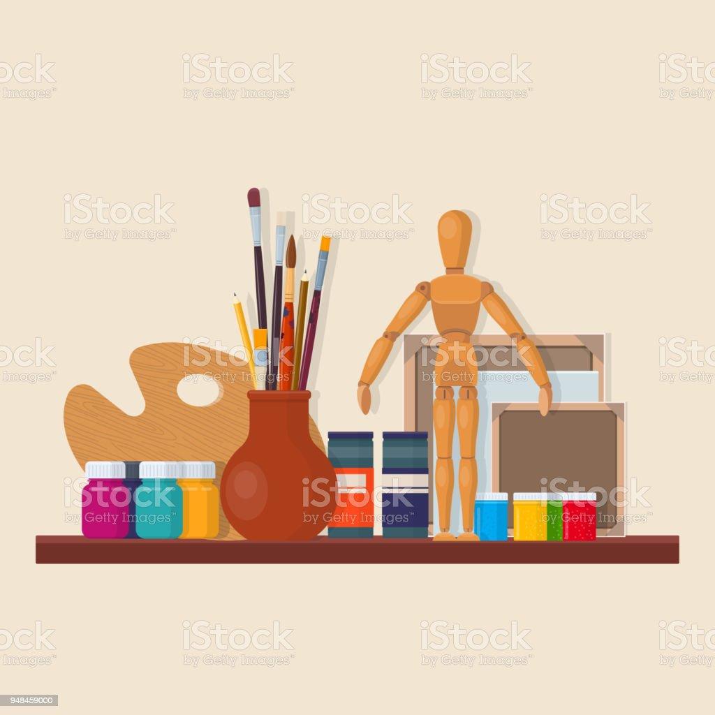 Ensemble de matériel d'artiste - Illustration vectorielle