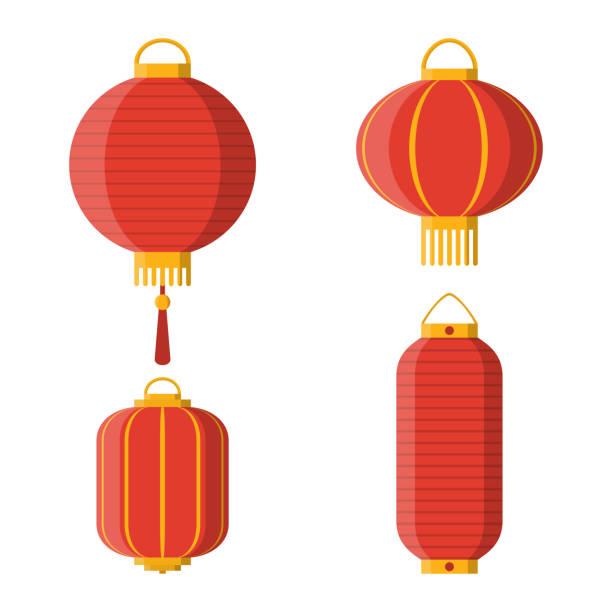 bildbanksillustrationer, clip art samt tecknat material och ikoner med uppsättning av asiatiska dekorativa hängande papper lyktor - ancient white background