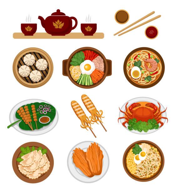 stockillustraties, clipart, cartoons en iconen met set van aziatische gerechten. chinese en koreaanse keuken. - krab gerecht