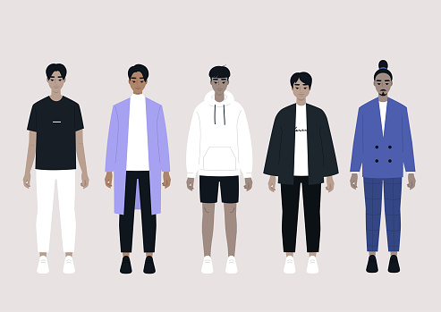 A set of Asian male characters wearing different outfits: casual, sport, business, elegant